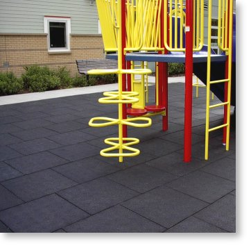 Rubber tiles at a playground