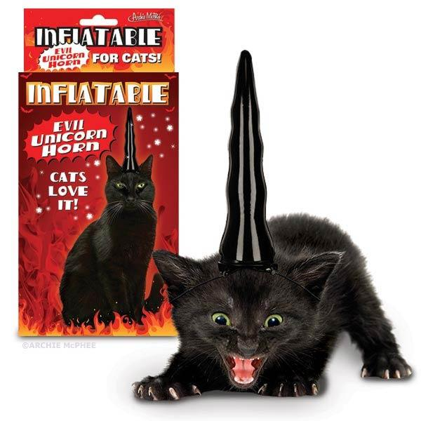 Accoutrements Inflatable Evil Unicorn Horn for Cats