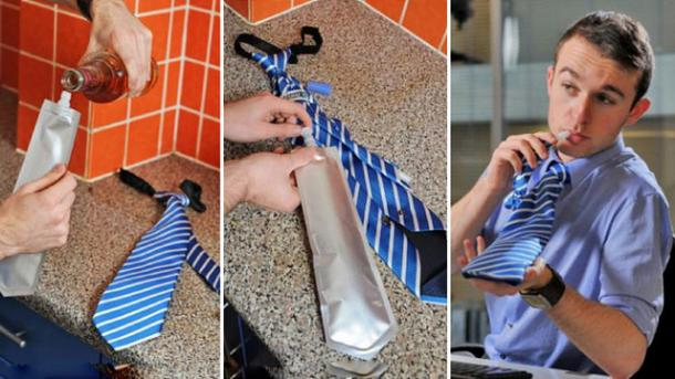 Flask Tie That Holds Alcohol