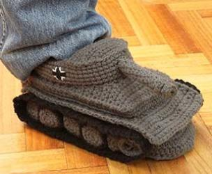 Crocheted Tank Slippers