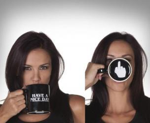 Have a Nice Day Middle Finger Surprise Coffee Mug