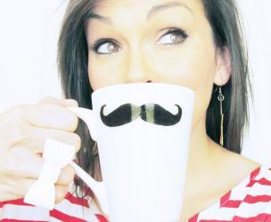 Plain White Mustache Coffee Mug