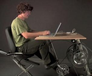Pedal Powered Bike-Desk That Charges You Laptop
